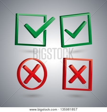 Set of four isolated check marks with 3D effect the sign performed tested rejected positive and negative response vector illustration.