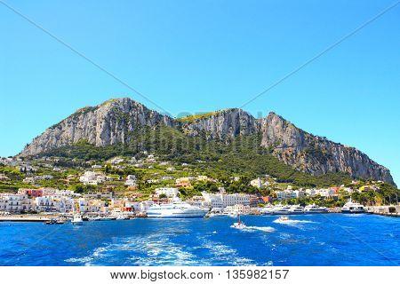 Ships near to island Capri, Italy. View from Tyrrhenian sea. Summer day