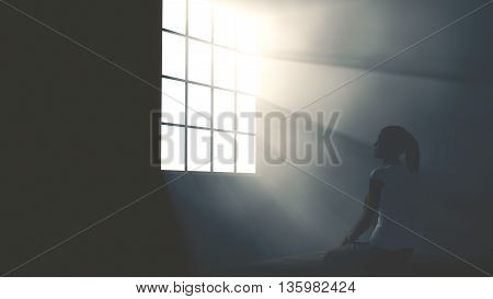 Lonely Woman In Melancholy Sitting In An Empty Room Against Lightrays