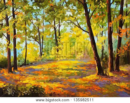 Oil Painting - Autumn forest leaves trees decoration; autumn