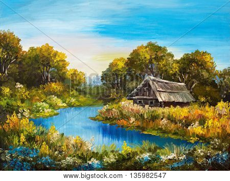 Oil Painting - Farmhouse near the river river blue blue sky summer forest green field full of flowers beautiful