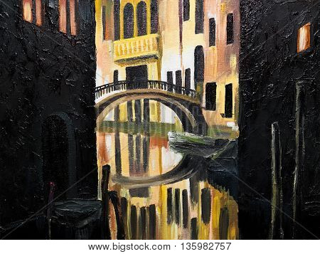 oil painting on canvas - Venetian bridge architecture art artistic artwork