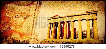 Grunge background with paper texture and landmarks of Greece - Parthenon, Dion mosaic with bull