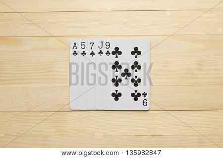 clubs Flush poker combination play cards object