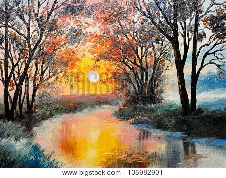 oil painting on canvas - the river watercolor wallpaper tree