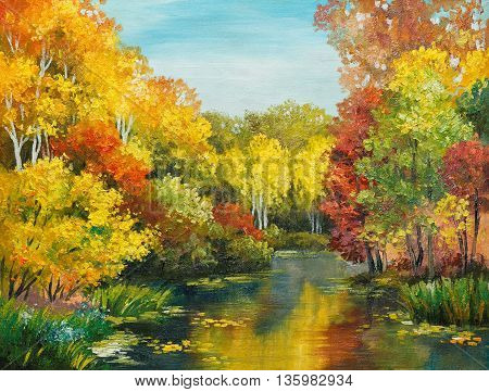 oil painting on canvas - colorfull autumn forest impressionism design color