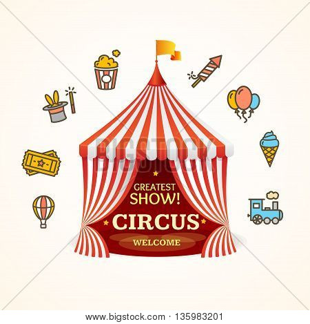 Circus Concept Can be Used for Invitation, Card, Poster or Flyer. Vector illustration