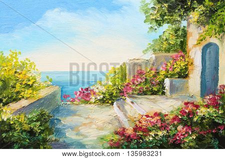 oil painting - house near the sea colorful flowers summer seascape