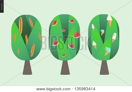 Bread, watermelon and ice cream tree - flat style vector cartoon illustration of three isolated trees with bread, watermelon and ice cream on them