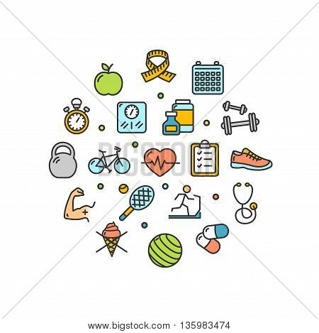 Fitness Health Life Round Design Template Thin Line Icon Set Isolated on White Background. Vector illustration