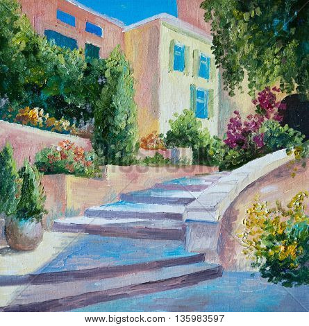 oil painting on canvas - stone stairs in the Greek city flowers along the road artwork design architecture