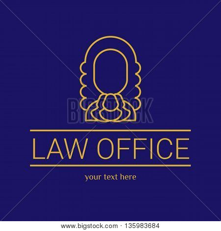 Law office logo. The judge, Law firm logo template, lawyer set of vintage labels. Gold line judge. Dura lex, sed lex quote. On black background