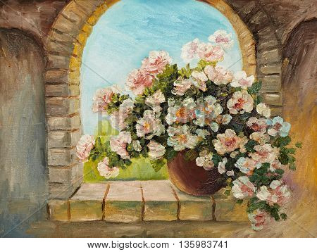 oil painting - bouquet of flowers on a stone sill abstract drawing performed in the style of Impressionism decoration garden design