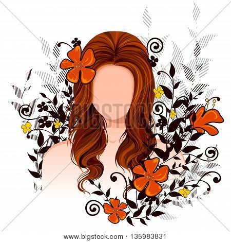 Vector design of beautiful young woman with elegant hair style
