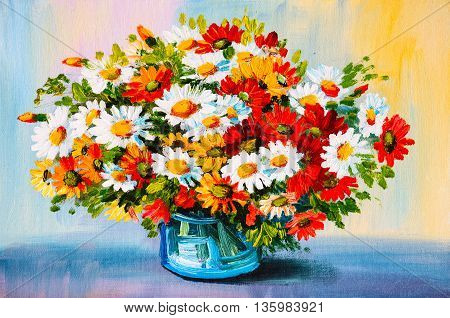 Oil Painting - still life a bouquet of flowers