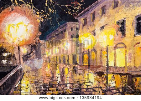 oil painting of beautiful light street with lamp