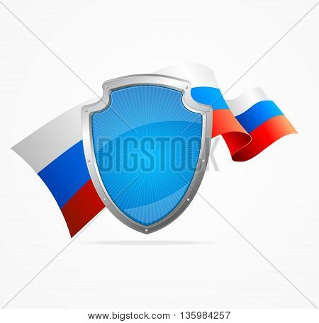 Russia Flag and Shield Isolated on White Background. Symbol Of Protection. Vector illustration