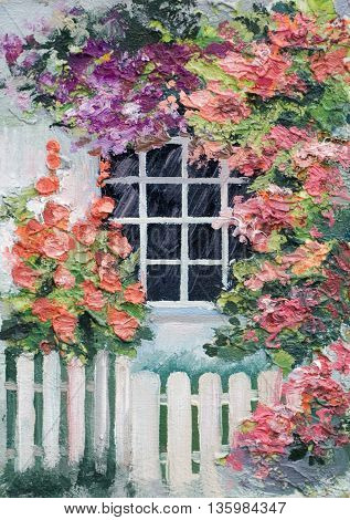 oil painting - lots of flowers around the house walkway and white fencecolorful picture