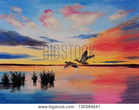 oil painting- Cranes at sunset,  freedom, purity