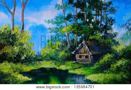 Oil Painting - Farmhouse near the lake river blue blue sky tree; outdoor forest
