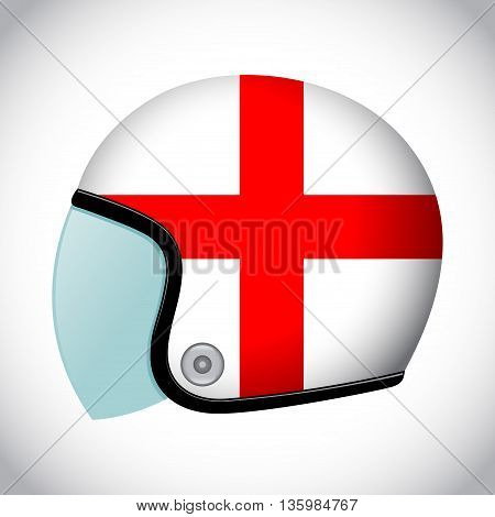 Vector stock of retro classic motorcycle helmet with England flag