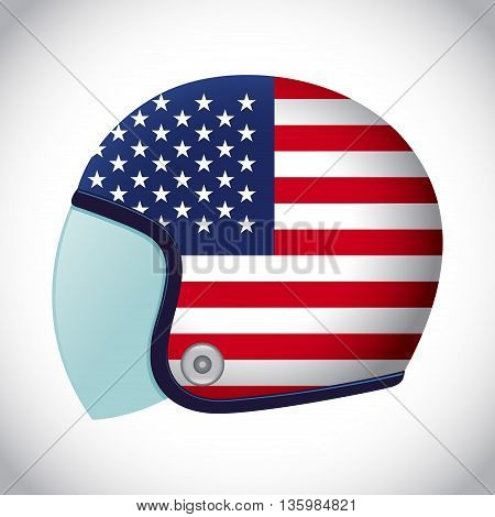 Vector stock of retro classic motorcycle helmet with USA flag