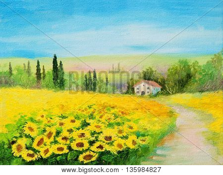 oil painting landscape - field of sunflowers sunshine