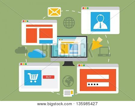 Website development and design, in flat illustration.