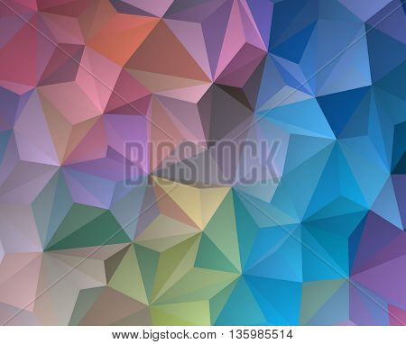 vector polygonal background with irregular tessellations pattern - triangular design in full spectrum colors - rainbow