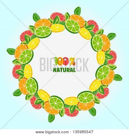 Citrus Fruits. Citrus wreath. Tropic Fruit frame. Sliced lemon lime orange grapefruit leaves. Fresh natural product Concept. Organic natural meal. Tropical product. Vector Illustration