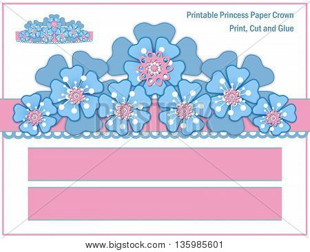 Paper crown for girls. Blue flowers on pink background