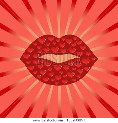 Red kissing smiling cartoon lips isolated. Red Lipstick kiss, mark, smudge. Makeup smudge. Mouth close up giving a kiss. Human body parts. Concept design for card, banner, poster. Vector illustration