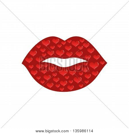 Red kissing and smiling cartoon lips isolated decorative for party presentation. Cartoon mouth giving a kiss, hearts. Human body parts. Concept design for card, banner, poster. Vector illustration