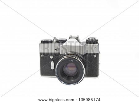 old film camera on white background retro.