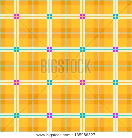 Vector geometric background with pink and green little squares and thin lines on a yellow field. For the decoration.