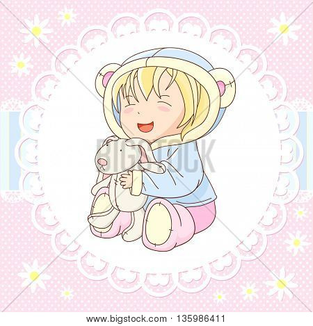 Vector background with happy little baby in jacket with hood of blue color and soft boots of pink color, playing with toy rabbit. In kawaii style