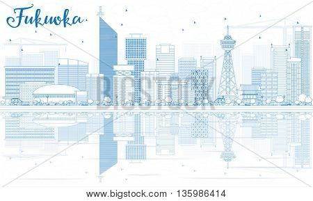 Outline Fukuoka Skyline with Blue Landmarks and Reflections. Vector Illustration. Business Travel and Tourism Concept with Historic Buildings. Image for Presentation Banner Placard and Web Site.