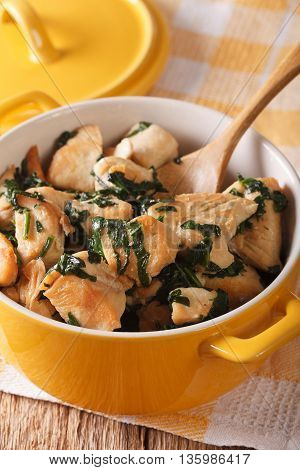 Healthy Food: Chicken Pieces Braised With Spinach In A Pan Close-up. Vertical