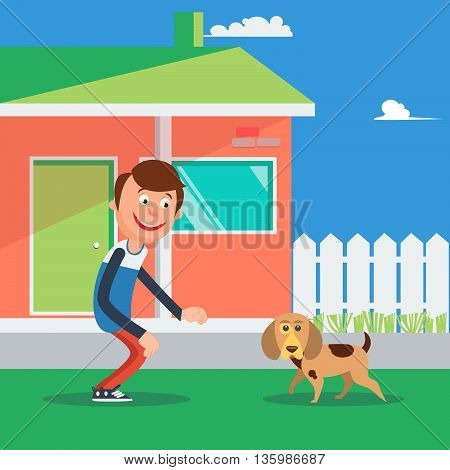 Happy Boy Playing with Dog. Kid and Puppy. Vector illustration