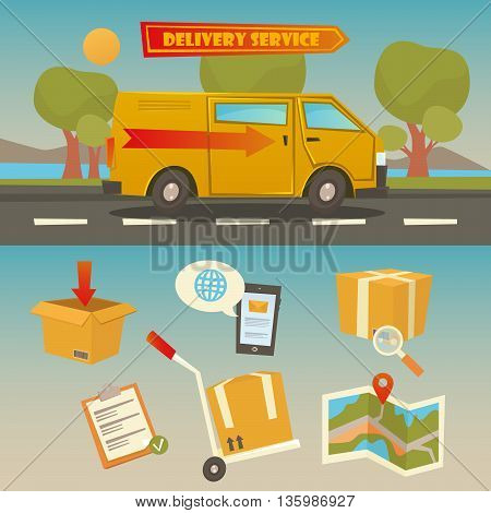 Delivery Service. Cargo Truck with Set of Elements - Containers Checklist Map. Vector illustration