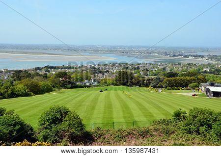 Green Golf Grass Field On Howth Peninsula Near Dublin