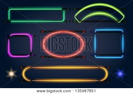 Neon light frames. Vector neon lamp borders
