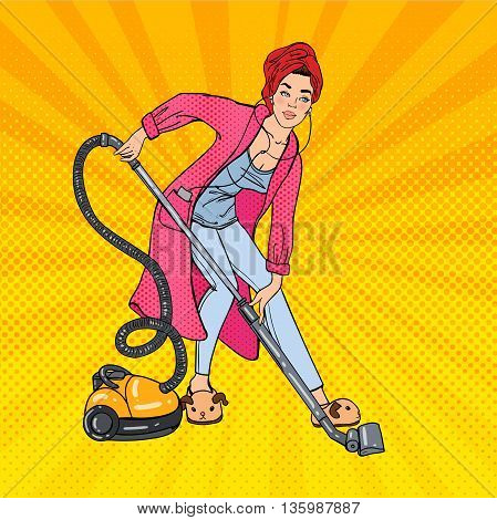 Beautiful Woman Hoovering Room and Listening Music. Housewife with Vacuum Cleaner. Pop Art. Vector illustration