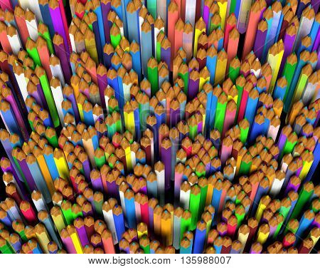 Large group of colored pencils. Top view. 3d render.