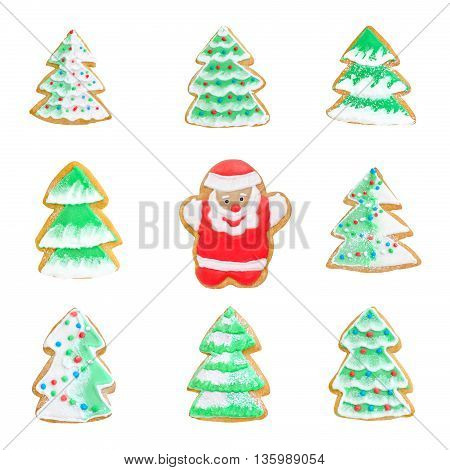 collage cookies christmas tree with santa isolated on white background