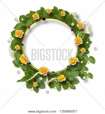 Beautiful Round Frame Of Roses, Leaves, Ribbons And Pearls
