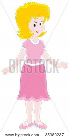 Cheerful young woman. Vector illustration of a friendly smiling optimistic girl, on a white background