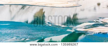 Floating melting ice blocks at the lake in spring panorama background