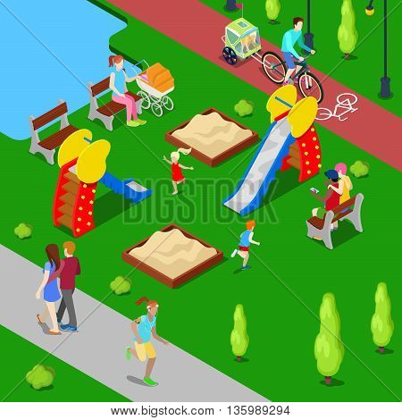 Isometric City. City Park with Children Playground and Bicycle Path. Vector illustration