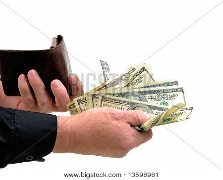 Man handing money from wallet